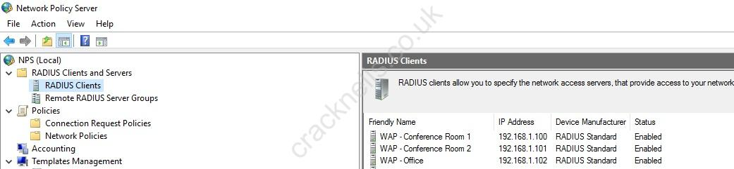 Configuring RADIUS authentication for a wireless network (802 1x EAP